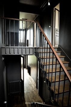 Wood old stairs / dark grey walls -★- Home / Work in progress / Interior design & Photography by Nicolas Valla