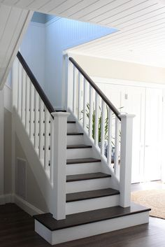 Love dark wooden treads snd painted risers wld look fab in new house even with carpet runner up middle with stair rods.