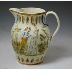 Antique English pottery pitcher in Pratt Ware with sailors return and farewell  c1810