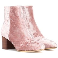 Rag & Bone Drea Velvet Ankle Boots (€490) ❤ liked on Polyvore featuring shoes, boots, ankle booties, pink, velvet booties, rag bone booties, ankle bootie boots, ankle boots and pink velvet boots