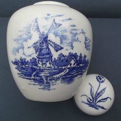 Delft Pottery & China Set Of 4 Vintage Delft Blue & White Holland Dutch Windmills Ashtrays More Discounts Surprises