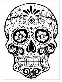 Crochet chart depicting Day of the Dead Sugar Skull. Includes both graph and word pattern.    150 x 278 stitches; 2 colors.    Feel free to sell your