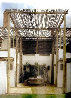 Pergola made using twigs! Great idea for use in the garden to create shade as well. http://plus.google.com/+RebeccaMiles1
