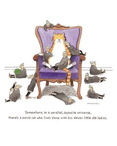 """I bought this, and I absolutely love it. Check out the various poses.  Very clever and well drawn.  Crazy Cat Lady Art, Funny Tabby Cat, """"Weird Lady Cat"""", a Humorous Watercolor Print by Scott Mendenhall"""