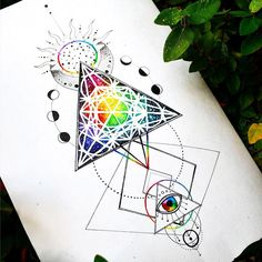 Excited to share the latest addition to my shop: Sacred Geometry Third Eye Sun and Moon Metatrons Cube Trippy Hippie Original Wall Art Print Poster Chakra Tattoo, Psychedelic Tattoos, Psychedelic Art, Hippie Tattoos, Triangle Art, Triangle Tattoos, Dreieckiges Tattoos, Forearm Tattoos, Octopus Tattoos