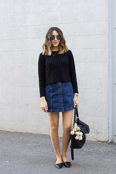spring outfit: button front denim skirt, black cropped sweater