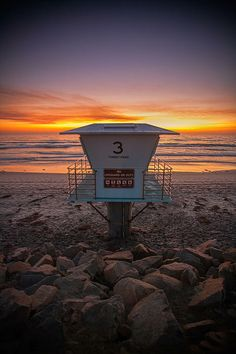 Photograph - Lifeguard Tower At Dusk by Peter Tellone , Cardiff Beach, Torrey Pines, High Tide, Lifeguard, Pacific Ocean, Dusk, Wind Turbine, Sunrise, Surfing