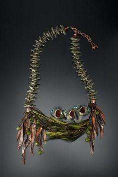 "2015 BeadDreams ribbon winners   Beads Magic - 2nd place Finished jewelry– ""Three little birds"" by Kim Van Antwerp, Judie Mountain, and Wayne Robbins (California)"