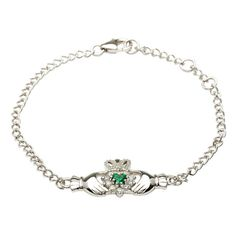 Retro Sterling Silver Claddagh bracelet with stone set CZ and Green CZ heart shape.