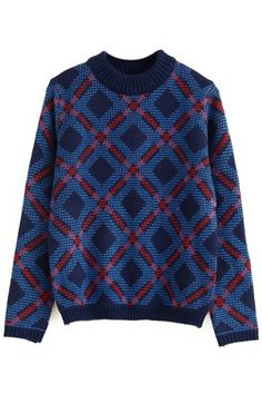 Fashion Graphic Print Blue Knit Sweater
