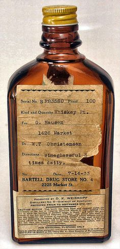 Medicinal liquor bottle sold by Bartell Drugs, Seattle, July 1933 Alcohol Bottles, Liquor Bottles, Good New Year's Resolutions, Washington State History, Medical Marijuana, Cannabis, Minute To Win It Games, New Year Greeting Cards, Vintage Packaging