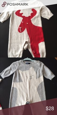2 Baby Gap one piece sweater outfits Baby Gap sweater one piece with button enclosure, size 0-3months ...the moose one was worn once and the bear one never worn but washed! GAP One Pieces