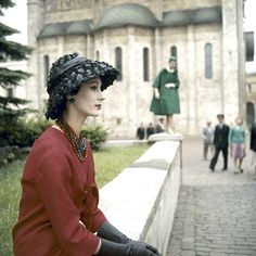Model Kouka Denis wearing fashion by Christian Dior at a fashion show near the Kremlin in Moscow, 1959. (Howard Sochurek—The LIFE Picture Collection/Getty Images)