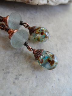 Ocean Treasure ... Lampwork and Copper Wire-Wrapped by juliethelen