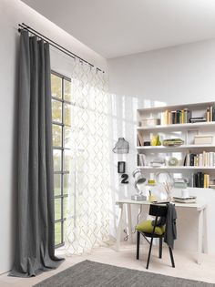 ADO | Dessin: Secco, Twist | #Stoff #fabric #vorhang #gardine #curtain #Arbeitszimmer #workingplace #grau #grey #Plisee #Transparenz #transparency