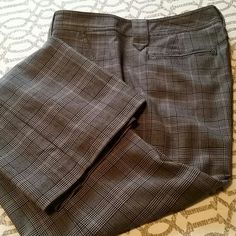 Dress pant Straight leg dress pants. Pattern is black, white, grey, red plaid. Material includes spandex so they have a nice and comfortable fit to them. CAbi Pants Trousers