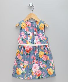 Take a look at this Blue & Pink Flower Dress & Belt - Toddler & Girls by Sweet Charlotte on #zulily today!