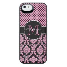 Pink glitter & black damask Pink Black Dots Name iPhone SE/5/5s Battery Case - glitter gifts personalize gift ideas unique