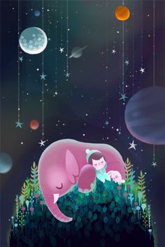 Goodnight Planet by Joey Chou. Boy, rabbit and pink elephant sleeping on hill. Moon, stars, planets.