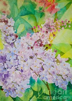 """Old Fashion Lilacs Greeting Card for sale by Terri Robertson.  Our premium-stock greeting cards are 5"""" x 7"""" in size and can be personalized with a custom message on the inside of the card.  All cards are available for worldwide shipping and include a money-back guarantee."""