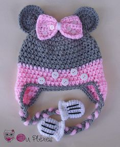 Crochet Minnie Mouse hat Minnie Mouse beanie girls hat