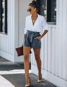 Classy Summer Outfits, Cute Casual Outfits, Short Outfits, Stylish Outfits, Spring Outfits, Classy Shorts Outfits, Shorts Outfits Women, Fashion Shorts, Classy Chic Outfits