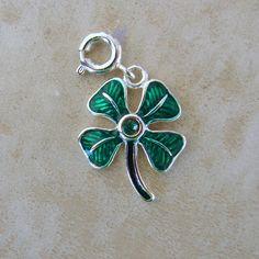 Green Enamel Clover Shamrock Lucky Sterling Silver Rhinestone Bracelet Charm #Unbranded #Traditional