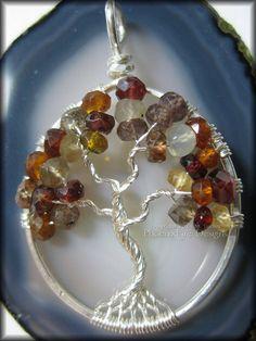 Tunduru Sapphire Tree of Life Pendant in Sterling Silver Wire Wrapped      #treeoflife #tree #treejewelry #jewerly #jewellry #treependant #gemtree #beadedtree #wirewrapped #silver #sterlingsilver #sterling #handmade #PFD #PhoenixFireDesigns #autumn #fall #sapphire #multisapphire #garnet