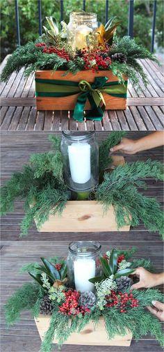 Snowy DIY Mason Jar Centerpieces {5-Minute $1 Decorations}