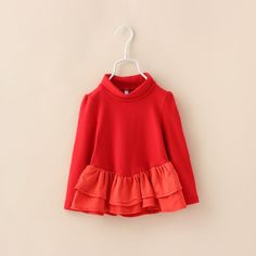 00069 TJ-6J2516 Free shipping 6 pcs/lot Wholesale children's clothing autumn color stitching small high collar dress for girls http://www.aliexpress.com/store/1047972