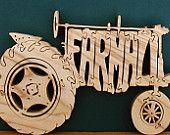 Farmall Tractor Natural Poplar Wood Cut On Scroll Saw