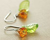 Orange Flower Leaf Earrings Sterling Silver, Glass Wire Wrap Drop Earrings, Tangerine Green Handmade, aubepine