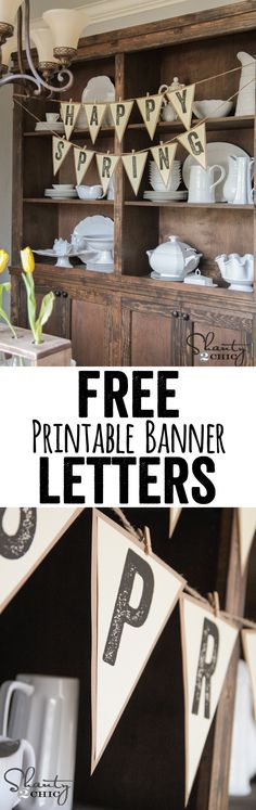 FREE Printable Letter Banners at www.Shanty-2-Chic.com! Print a banner for any holiday, party or room for FREE!!! LOVE these!! Banner Letters, Wedding Table Numbers, Diy Signs, Wedding Signs, Printables, Trendy Wedding, Lettering, Ideas, Wedding Plates