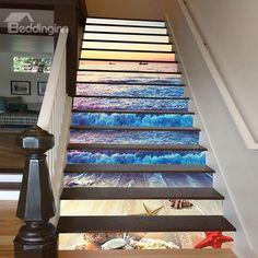 Splendid Sunset Sea Wave and Beach Scenery Pattern Wallpaper Waterproof 3D Stair Step Stickers