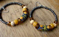 African Beaded Big Hoop Earrings - Bohemian Jewelry - Yellow - Wood - stoneandbone - Tribal