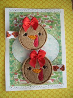 Girl Turkey Thanksgiving Feltie Hair Clips by LittleDollysShop, $6.00
