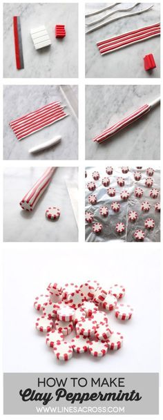 These clay peppermint candies were inspired by an episode of How It's Made on the History Channel that I watched a couple of years ago… on how peppermint candies are made of course. As much as I LOVE polymer clay, there are a lot of tools and techniques that I'm not familiar with, so there might be a name for this kind of technique. But this tutorial, and my whole