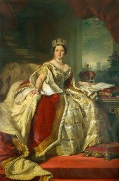 1859 Portrait of Queen Victoria (1819-1901) Painted by Franz Xaver Winterhalter (1805-73) - The Queen is wearing the Robes of State, the circlet, and the earrings and necklace made by Garrard's, the royal jewellers in 1858, the year before this was painted.