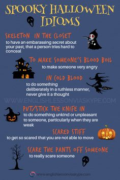 Spooky Halloween idioms and expressions Learn English with native speakers English Tips, English Fun, English Idioms, English Vocabulary Words, English Phrases, English Words, English Lessons, English Grammar, Learn English