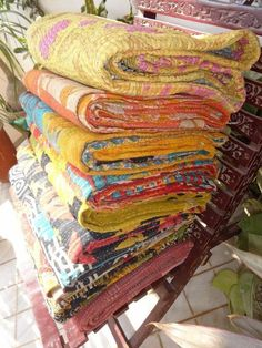 Lot of 10 Handmade Vintage Kantha Quilt, Heavy & Fine Kantha Work, First Grade  #Handmade #Traditional