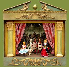 Alice in wonderland Theatre - Théâtre de marionnettes - Sartoni Danilo Ravenna Italy Wonderland Theater, Alice In Wonderland Doll, Haunted Dollhouse, Dollhouse Toys, Ravenna Italy, Art Nouveau Interior, Punch And Judy, Toy Theatre, Art Populaire