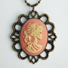 Peach Lolita Cameo Necklace, $30, now featured on Fab.