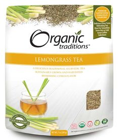 Lemongrass Tea by Organic Traditions.  Native to Southeast Asia, Lemongrass has been traditionally used in both Ayurvedic medicine and in the ancient Asian herbal traditions. It is a wonderful tea to incorporate into the daily diet with many health promoting benefits. Experience the uplifting and energizing effects of this refreshing herbal tea without caffeine or other unnatural stimulants.   Certified organic, gluten-free, kosher, vegan, Non-GMO and Raw.