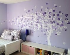 purple girl room interior design decorating ideas with tree flower wall decals…