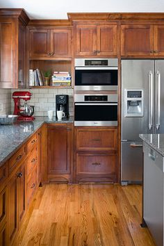 Traditional Kitchen Cherry Cabinets And Remnant Granite Counters