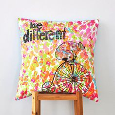 "Kids Pillow, Multicolor Decorative Pillows, Hipster Pillows, Throw Pillow, Nursery Pillow, Cushion Cover, Teen Pillow, Bear 16"" x 16"" on Etsy, $36.00"