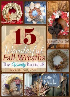 15 Wonderful Fall Wreaths ~  >DIY: Fall Burlap Wreath >DIY Burlap Ribbon Fall Wreath >Deco Mesh Fall Wreath >Ruffled Burlap Wreath Tutorial >Glittered Leaf Fall Wreath & MORE!  Project Links @: http://www.titicrafty.com/2013/09/15-wonderful-fall-wreaths-weekly-round.html