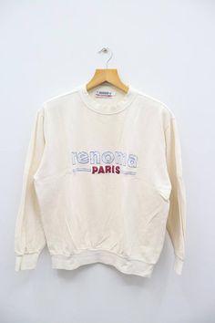 Vintage RENOMA Paris Big Spell White Sweater Sweatshirt Size L