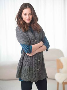 Ravelry: Cabled And Buttoned Wrap pattern by Bobbie Fitzgerald.