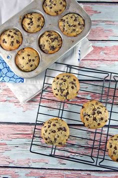 Chocolate Chip Banana Bread Muffins: one bowl, mix by hand, muffins reminiscent of your favorite banana bread. {Bunsen Burner Bakery}